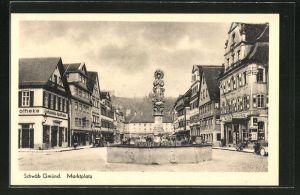 AK Schwäb. Gmünd, Strasse am Marktplatz