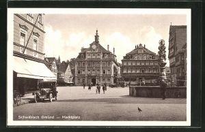 AK Schwäb. Gmünd, Marktplatz mit Brunnen