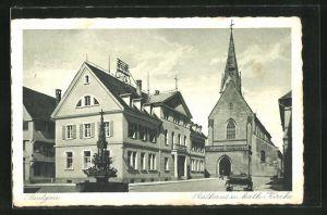 AK Saulgau, Blick auf Rathaus u. katholische Kirche