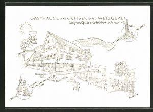 Künstler-AK Schnait / Remstal, Gasthaus zum Ochsen und Metzgerei