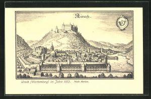 AK Urach / Württbg., Ortsansicht aus dem Jahre 1663, nach Merian