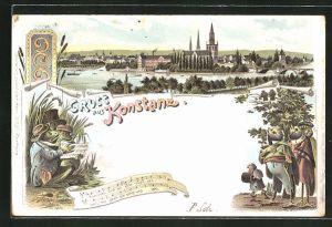 Lithographie Konstanz, Ortsansicht mit Kirche, Singende Frösche u. Vögel