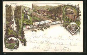 Lithographie Triberg / Schwarzwald, Wasserfall, Schwarzwälder Bauernhaus