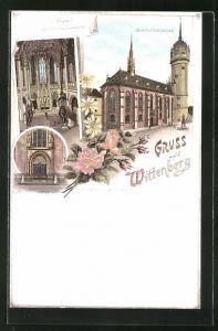Lithographie Wittenberg, Schlosskirche, Thesenthür, Innenansicht der Schlosskirche
