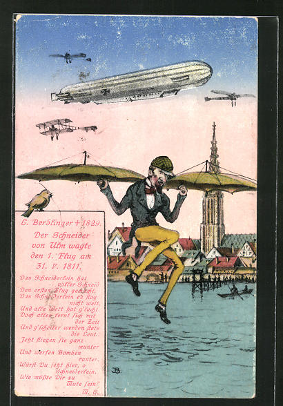 AK Ulm, Schneider von Ulm mit seinem Flugapparat, Zeppelin über der Stadt