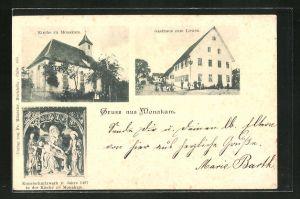 AK Monakam, Gasthaus zum Löwen, Ansicht der Kirche