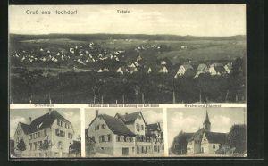 AK Hochdorf, Totalansicht, Gasthaus zum Hirsch u. Handlung von Karl Riehle, Kirche, Pfarrhof und Schulhaus