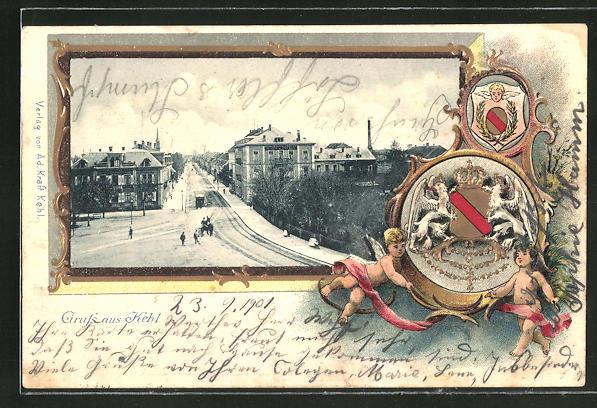 Passepartout-Lithographie Kehl, Ortspartie und Wappen mit Engeln