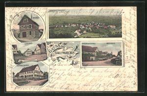 Lithographie Gailenkirchen, Hauptstrasse mit Handlung v. M. Schulz, Schulhaus und Rathaus, Gasthaus zum Ochsen