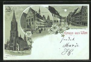 Mondschein-Lithographie Ulm, Münster, Rathaus, Blauansicht