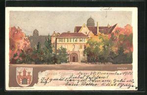 Lithographie Cöthen, Blick zum Schloss