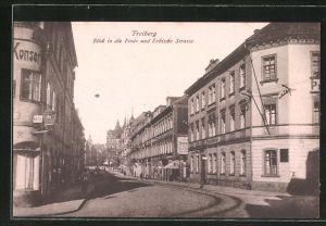 AK Freiberg, Post- und Erbische Strasse mit Geschäften