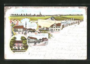 Lithographie Hiltenfingen, Gasthaus zur Traube, Bäckerei und Handlung von G. Doll