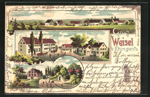 Lithographie Weisel A D Brauerei Ackermann Fasshaus Totalansicht