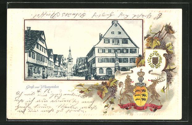 Passepartout-Lithographie Winnenden, Ortspartie mit Geschäften und Passanten, Wappen