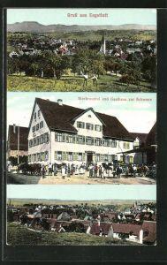 AK Engstlatt, Gasthaus und Brauerei zur Schwane, Ortsansicht