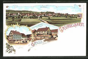 Lithographie Gründelhardt, Gasthaus und Brauerei zum Hirsch, Kgl. Post und Handlung von Georg Utz