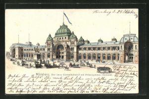 AK Nürnberg, der neue Centralbahnhof mit Prinzregenten-Denkmal und Strassenbahn
