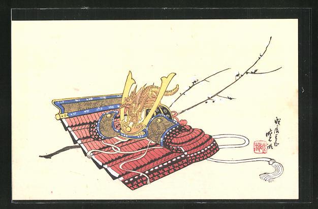 Künstler-AK Rüstung eines Samurai mit Drachenhelm, Japanische Kunst
