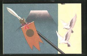 Künstler-AK Japanische Lanze mit Banner und weisse Tauben, Japanische Kunst