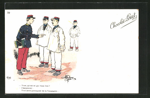 Künstler-AK Albert Guillaume: Französischer Offizier bestimmt einen Soldaten als Kompaniefriseur, Chocolat-Louit