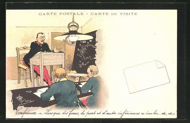 Künstler-AK Albert Guillaume: Französische Soldaten werden in Taktik geschult