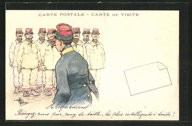 Künstler-AK Albert Guillaume: Französischer Offizier vor seinen Kadetten