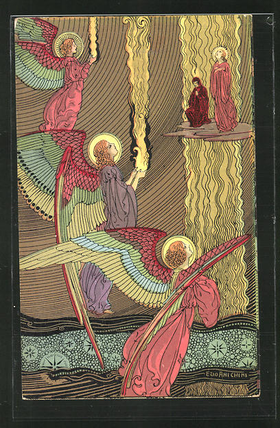 Künstler-AK sign. Ezio Anichini: Szene aus Dantes Göttlicher Kommödie, Paradiso, cap. XX, Jugendstil