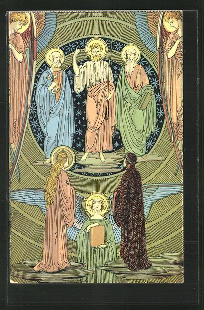 Künstler-AK sign. Ezio Anichini: Szene aus Dantes Göttlicher Kommödie, Paradiso, cap. XXVI, Jugendstil