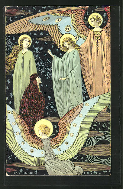 Künstler-AK sign. Ezio Anichini: Szene aus Dantes Göttlicher Kommödie, Paradiso, cap. III, Jugendstil