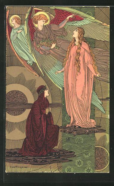 Künstler-AK sign. Ezio Anichini: Szene aus Dantes Göttlicher Kommödie, Paradiso, cap. XXI, Jugendstil