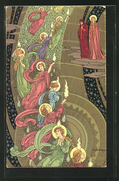 Künstler-AK sign. Ezio Anichini: Szene aus Dantes Göttlicher Kommödie, Paradiso, cap. V, Jugendstil