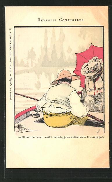 Künstler-AK Albert Guillaume: Paar bei einer Ruderbootpartie