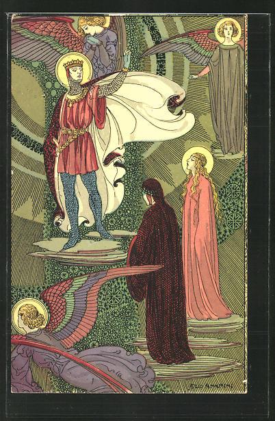 Künstler-AK sign. Ezio Anichini: Szene aus Dantes Göttlicher Komödie, Paradiso, cap. VIII, Jugendstil