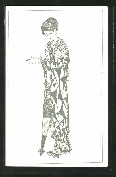 AK Junge Geisha mit Schirm