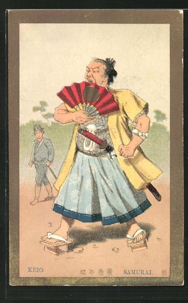 Künstler-AK Der Samurai Keio mit Fächer