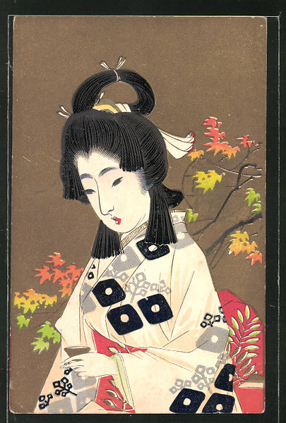 AK Geisha beim Tee