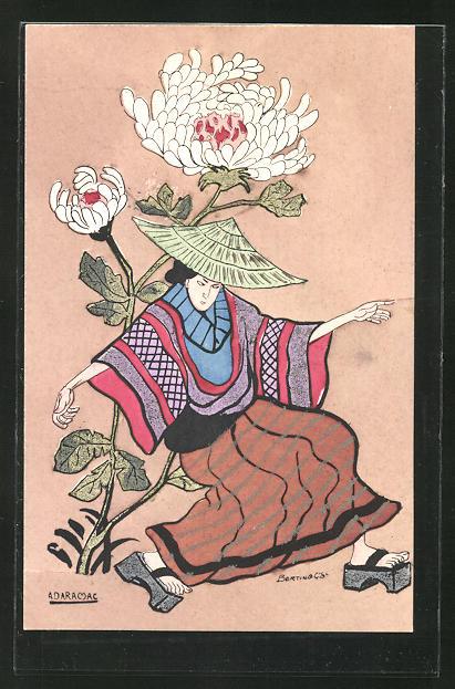 AK Geisha unter einer Blume