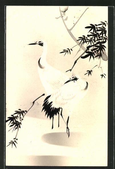 Künstler-AK Japanische Kunst, Kraniche stehen zwischen Zweigen