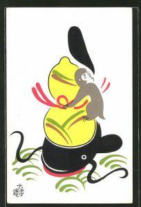 Künstler-AK Japanische Kunst, Affe auf einer Frucht sitzend