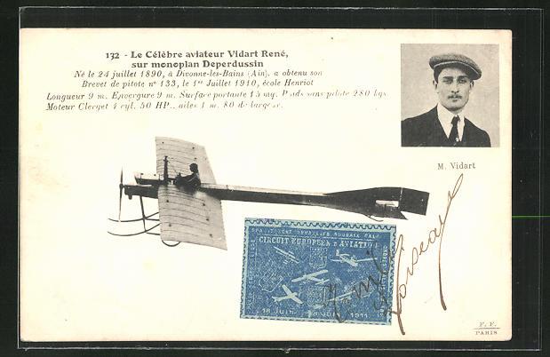 AK Le Célèbre aviateur Vidart René sur monoplan Deperdussin, Flugzeug