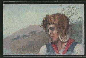 Künstler-AK sign. Cascella: junge Frau mit grossen Ohrringen