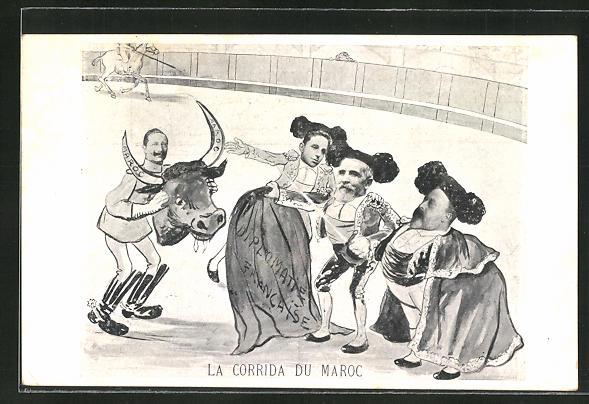 AK La Corrida du Maroc, Kaiser Wilhelm II. mit Stierkopf in der Arena, Marokkokrise