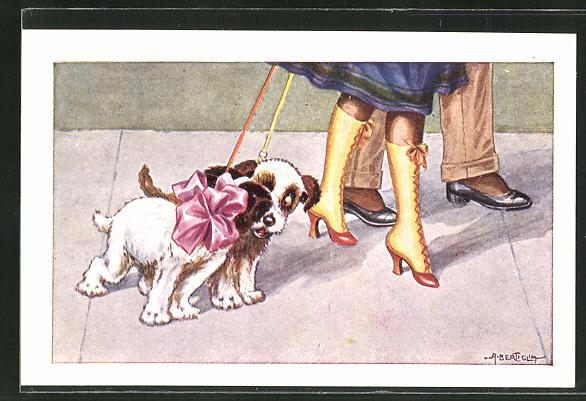 Künstler-AK A. Bertiglia: kleine Hunde mit Schleife