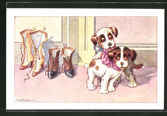 Künstler-AK A. Bertiglia: kleine Hunde mit Schleife neben Schuhe