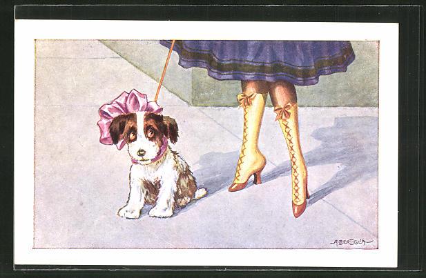 Künstler-AK A. Bertiglia: Damenbeine mit Stiefel, Hund mit rosa Schleife