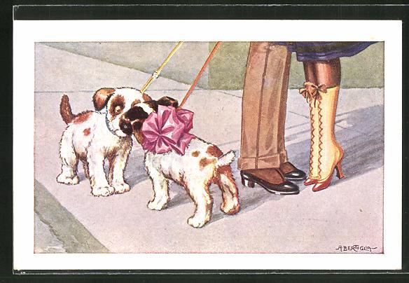 Künstler-AK A. Bertiglia: Paar mit zwei kleinen Hunden