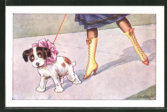 Künstler-AK A. Bertiglia: Damenbeine mit Stiefel, kleiner Hund mit rosa Schleife