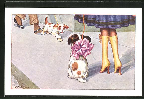 Künstler-AK A. Bertiglia: kleiner Hund mit Schleife wartet auf seinen Spielgefährten