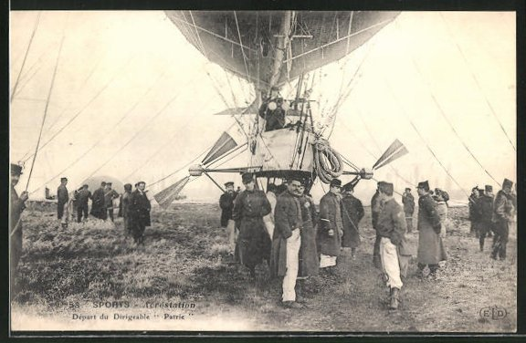 AK Sports - Aerostation, Depart du Dirigeable Patrie, Zeppelin
